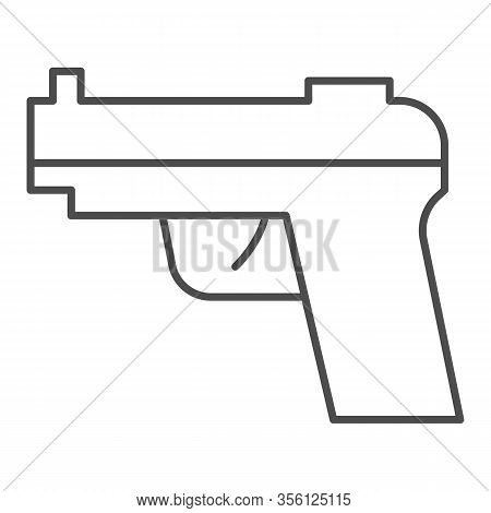 Pistol Thin Line Icon. Firearm Or Handgun, Gangster Gun Symbol, Outline Style Pictogram On White Bac