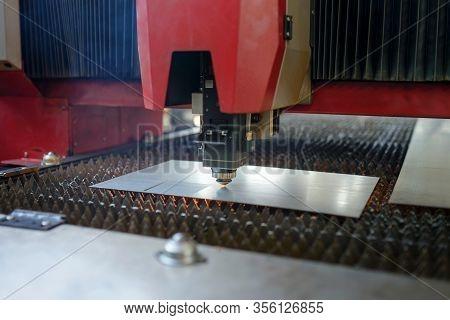 Industrial Fiber Laser Cutter. Plasma Cutting Of Metal.