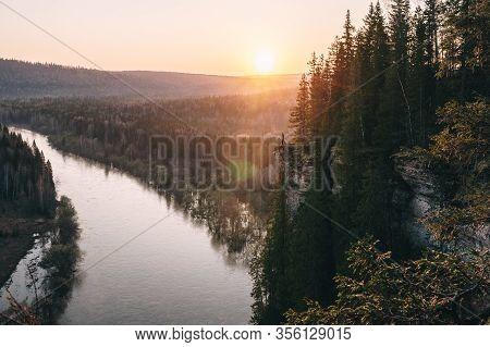 Scenic Landscape, Man On On Edge Of Cliff Meeting Beutiful Sunrise Over Mountain River Usva, Russia,