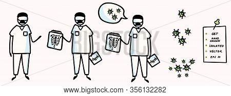 Corona Virus Set Covid 19 Stick Man Doctor Explainer Infographic. Viral Flu Lung Xray Spread News Al