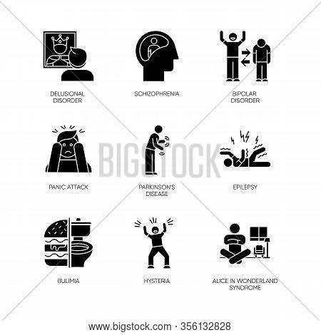 Mental Disorder Glyph Icons Set. Schizophrenia. Bipolar Disorder. Panic Attack. Parkinson Disease. E