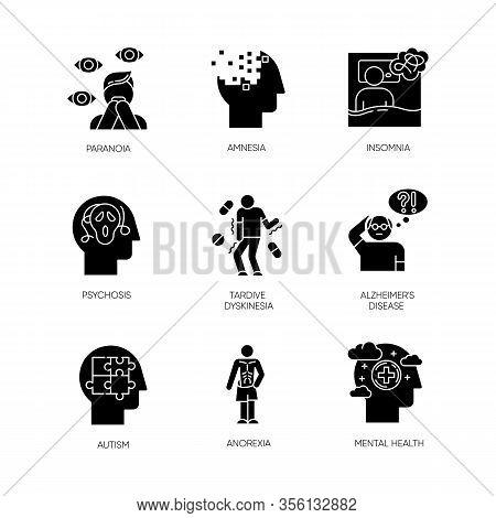 Mental Disorder Glyph Icons Set. Paranoia, Psychosis. Amnesia, Insomnia. Tardive Dyskinesia. Alzheim