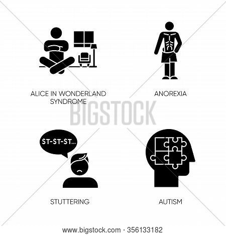 Mental Disorder Glyph Icons Set. Alice In Wonderland Syndrome. Anorexia. Eating Disorder. Underweigh
