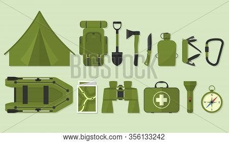 Icon Set For Hiking. Camping Equipment Vector Collection. Binoculars,boat,first Aid Kit, Backpack, F