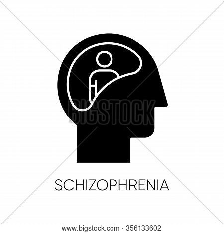 Schizophrenia Glyph Icon. Unclear Thinking. Confused Mind. Mental Disorder. Paranoia, Anxiety. Abnor