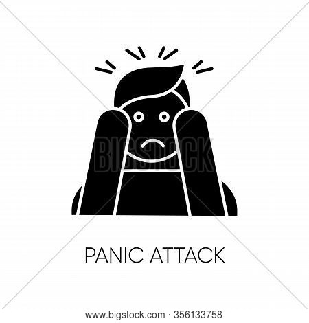 Panic Attack Glyph Icon. Anxiety And Depression. Paranoia And Phobia. Migraine From Stress. Person A