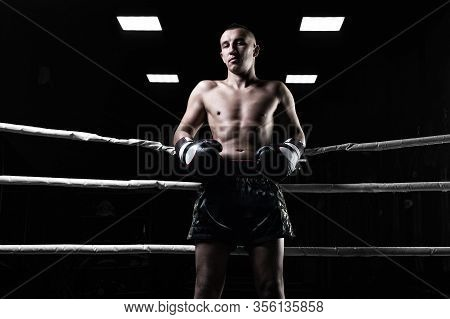 Portrait Of A Kickboxer Who Is Standing In The Ring. Sports Concept, Muay Thai.