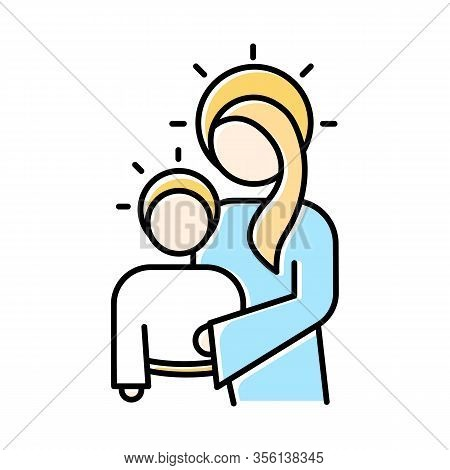 Virgin Mary With Son Jesus Blue Color Icon. Holy Mary Hugging Baby Christ. Christmas And Childhood O