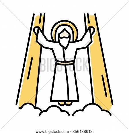 Ascension Of Jesus Christ Color Icon. Messiah, The Son Of God Raising On Cloud In Divine Light. Savi