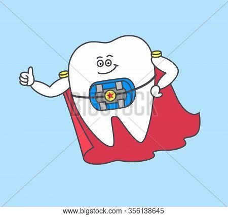 Cartoon Tooth Superhero With Braces And Blue Rubber Bands And A Red Cloak. Dentistry Orthodontist Ic