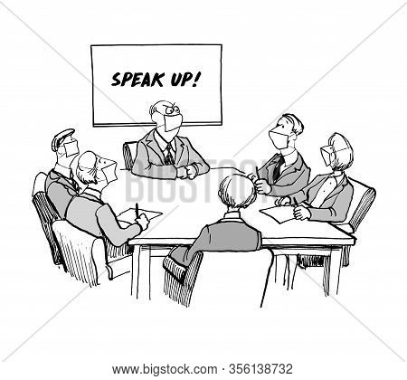 Team Member In Face Masks Cannot Be Heard By Older Boss In Meeting.