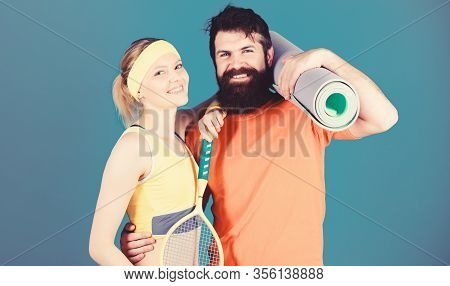 Sport Is Our Life. Healthy Lifestyle Concept. Man And Woman Couple In Love With Yoga Mat And Sport E