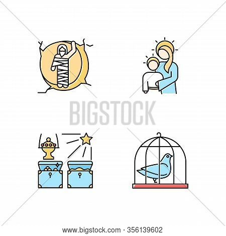 Bible Narratives Color Icons Set. Resurrected Lazarus, Virgin Mary With Son Jesus, Gifts Of The Magi