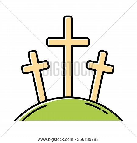 Calvary Hill Color Icon. Three Crosses At Golgotha Mountain. Crucifixion Of Jesus Christ. Good Frida