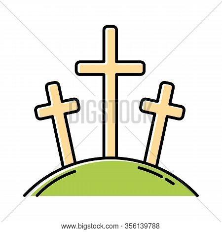 Calvary Hill Color Icon. Three Crosses At Golgotha Mountain. Crucifixion Of Jesus Christ. Good Frida
