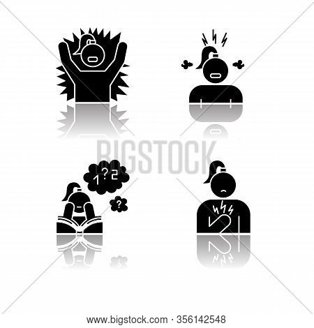 Pms Symptoms Drop Shadow Black Glyph Icons Set. Emotional Outburst. Irritability And Stress. Poor Co