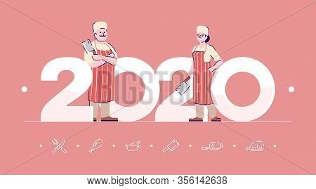 Professions 2020 Flat Banner Vector Template. Butchers Isolated Cartoon Characters On Coral. Meatman