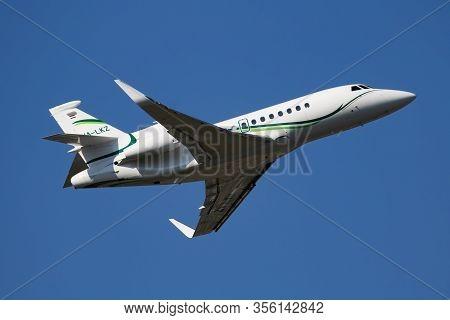 Budapest / Hungary - July 3, 2019: Dassault Falcon 900x Ha-lkz Business Corporate Jet Plane Departur