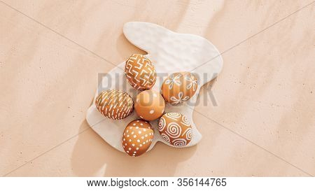 Monochrome Minimalist Easter Composition In Spring Warm Pastel Tones
