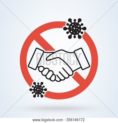 No Handshake For Virus Prevention Concept. Bacteria When Shaking Hands. Vector Illustration