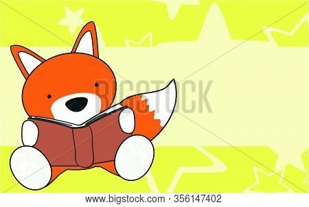 Cute Fox Baby Cartoon Reading Background In Vector Format