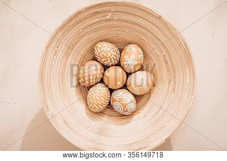 Minimalistic Composition. Easter Eggs On A Plate. Eco Style. Warm Pastel Tones. View From Above