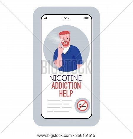 Nicotine Addiction Help Cartoon Smartphone Vector App Screen. Mobile Phone Display With Flat Charact