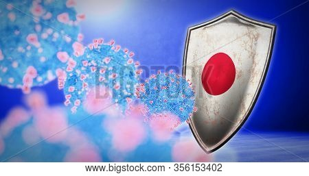 Fight Of The Japan With Coronavirus - 3d Render