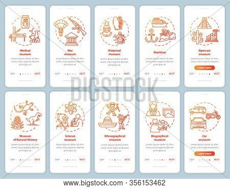 Exhibition And Museum Onboarding Mobile App Page Screen Vector Template. Ethnography, Biography. Wal