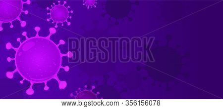 Coronavirus Known As Sars-cov - Vector Realistic Illustration In Purple. Web Banner Or Article Pictu