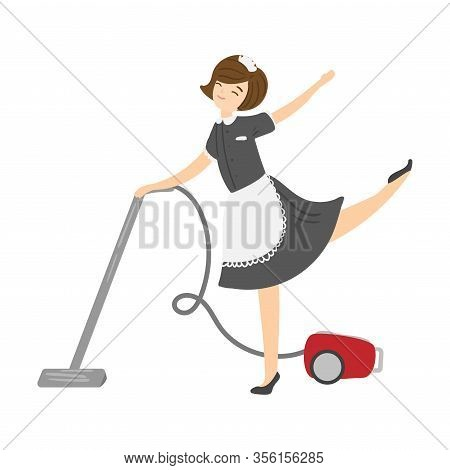 Brown-haired Smiling Housemaid Posing With A Vacuum Cleaner. Vector Illustration In Flat Cartoon Sty