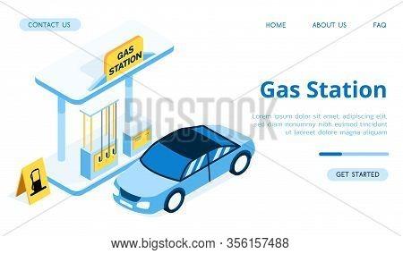 Blue Gas Station For Cars. The Blue Car Arrived At The Gas Station. Gas Station With Yellow Banner I