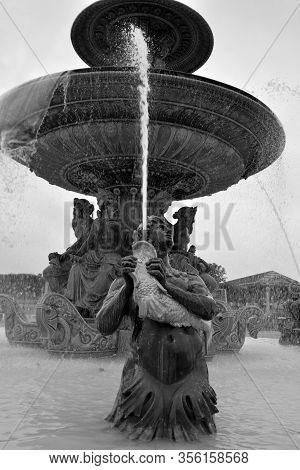 Paris France 09 24 2019: Fountain Of River Commerce And Navigation (1840) On The Place De La Concord