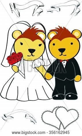 Cute Porcupine Married Cartoon Set In Vector Format