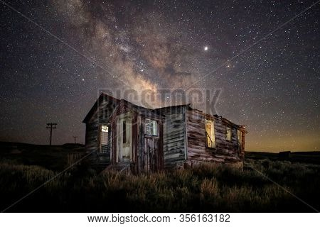 Star Trails and Milky Way in Bodie California Eastern Sierras