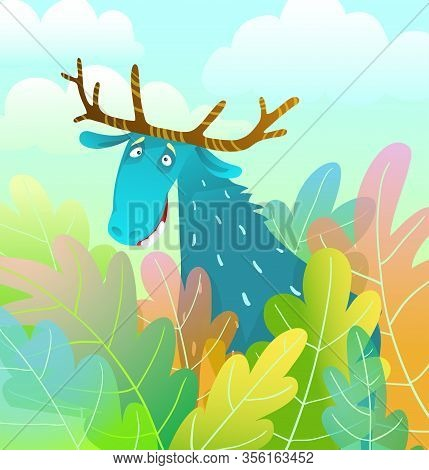 Silly Moose Design Looking Amusing And Eccentric In The Forest Background Colorful Watercolor Style