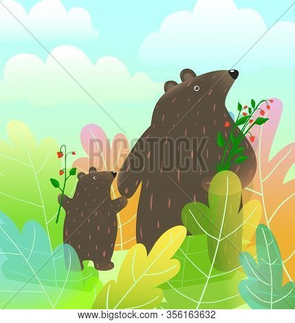 Mother Bear And Baby Cub Animals Watercolor Style Cartoon Walking In The Forest Landscape With Cloud