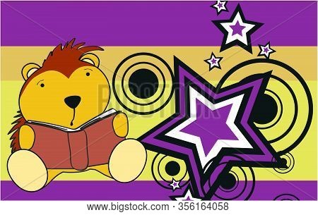 Cute Baby Porcupine Holding Book Kawaii Background In Vector Format Very Easy To Edit