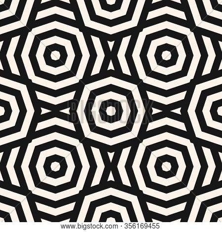 Vector Monochrome Geometric Seamless Pattern. Abstract Linear Texture With Stripes, Lines, Octagonal