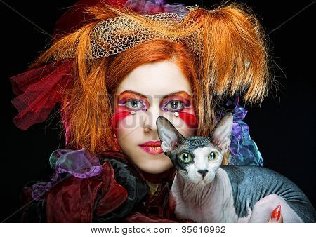 poster of yong princess with cat. creative fantasy make-up.