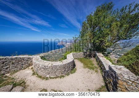 Remains Of Norman Castle In Erice Town On A Erice Mountain, Sicily Island In Italy