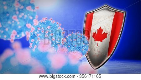 Fight Of The Canada With Coronavirus - 3d Render