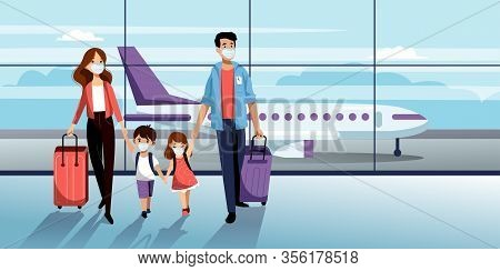 Family With Two Kids In Medical Protection Masks In Airport Terminal. Vector Illustration. Traveling