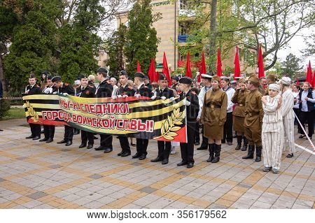 Anapa, Russia - May 9, 2019: The Cadets Carry The Sign
