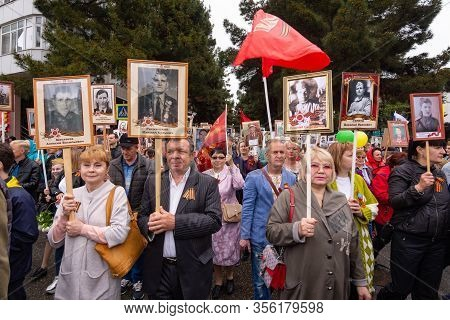 Anapa, Russia - May 9, 2019: Participants Of The Procession
