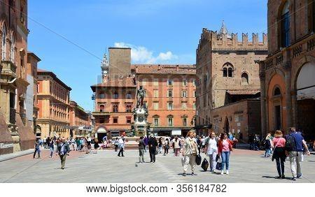 Bologna Italy  05 28 2019:  The Fountain Of Neptune (italian: Fontana Di Nettuno) Is A Monumental Ci