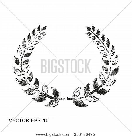 Laurel Wreath Is Monochrome, Dotted, A Symbol Of Victory And Triumph. Vector Element. Eps.