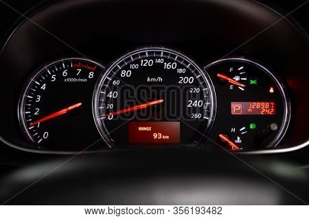 Novosibirsk, Russia - March 07, 2020: Nissan Teana, Car Dashboard With White  Backlight: Odometer, S