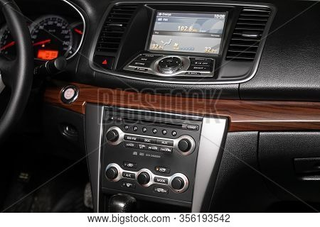 Novosibirsk, Russia - March 07, 2020: Nissan Teana, Close-up Of The Central Control Panel, Monitor W