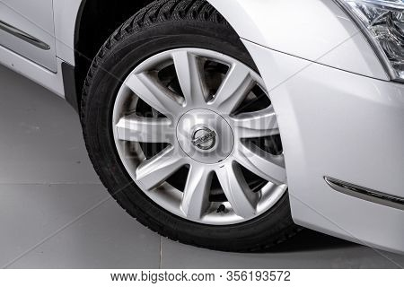 Novosibirsk, Russia - March 07, 2020: Nissan Teana, Car Wheel With Alloy Wheel And New Rubber On A C